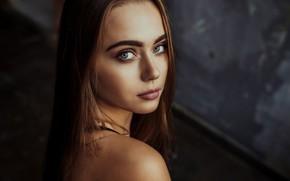 Wallpaper look, model, portrait, makeup, hairstyle, brown hair, beauty, bokeh, Krzysztof Budych