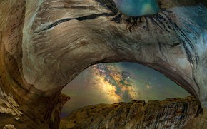 Picture stars, mountains, night, eyes, stones, rocks, desert, view, divorce, The milky way, arch, cave, hole, …