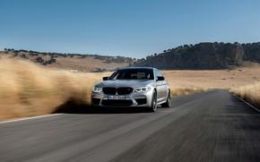 Picture road, field, the sky, grass, grey, plain, BMW, sedan, 4x4, 2018, four-door, M5, V8, F90, …