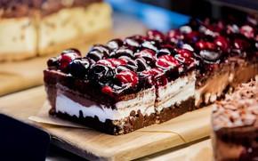 Picture cherry, chocolate, cake, cream, dessert, vanilla, sweet, jelly, cakes, dessert