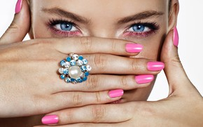Picture eyes, girl, face, hands, ring, manicure