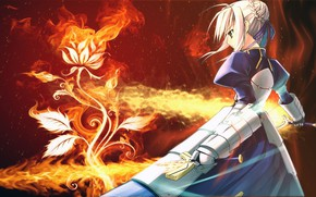 Picture flower, girl, sword, knight, the saber, Fate stay night, Fate / Stay Night
