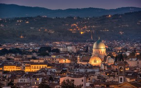 Picture night, lights, home, Italy, panorama, Cathedral, Florence