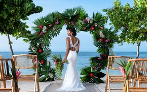 Picture girl, flowers, pose, the ocean, figure, the bride, wedding dress, Константин Силаев