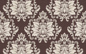 Picture design, retro, Wallpaper, pattern, ornament, luxury, vintage, floral, brown background