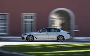 Picture grass, grey, lawn, the building, BMW, profile, sedan, hybrid, 5, four-door, 2017, 5-series, G30, 530e …
