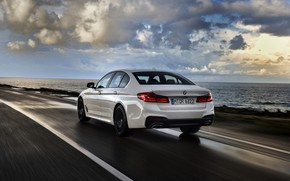 Picture white, BMW, sedan, rear view, dampness, 540i, 5, four-door, 2017, 5-series, G30
