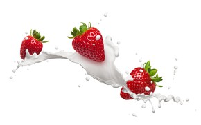 Picture drops, squirt, milk, strawberry, berry, white background, red