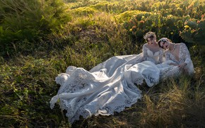 Picture grass, pose, style, mood, cacti, two girls, model, wedding dress