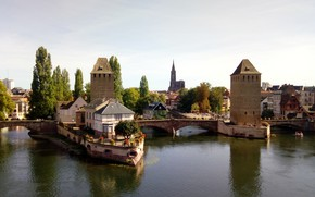 Picture channel, tower, bridge, Strasbourg, France, home, river