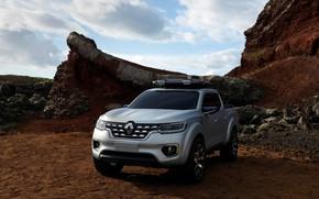 Picture stones, rocks, silver, Renault, pickup, 2015, Alaskan Concept