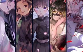 Picture collage, The Blade Cleaves Demons, Tanjirou Kamado, Shinobu Kochou