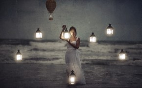Picture sea, girl, lights