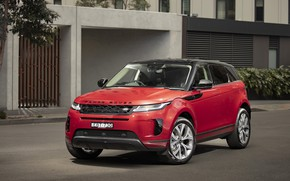 Picture road, red, the building, Land Rover, Evoque, crossover, D240