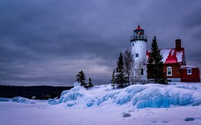 Picture winter, snow, landscape, lake, lighthouse, ice, Michigan, USA, Lake Superior, Top, Eagle Harbor Lighthouse