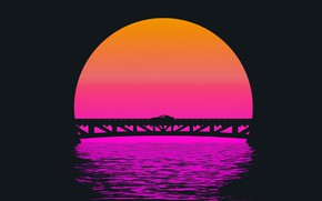 Picture Sunset, The sun, Bridge, Music, Silhouette, Background, 80s, Neon, 80's, Synth, Retrowave, Synthwave, New Retro …
