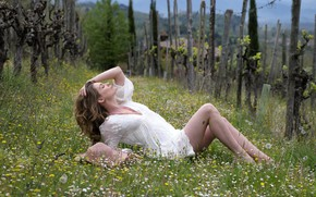 Picture grass, flowers, sexy, dress, legs, beauty