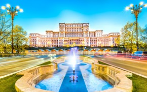 Picture lights, fountain, Romania, Bucharest