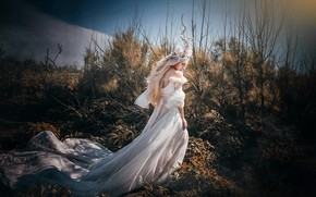 Picture the sky, girl, light, branches, nature, face, pose, style, thickets, fairy, blonde, costume, outfit, horns, …
