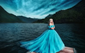 Picture girl, blue, shore, dress, blonde, photographer, Princess, pond, Maria Lipina