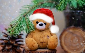 Picture snowflakes, background, spruce, bear, Christmas mood