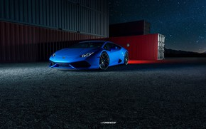 Picture Auto, Night, Blue, Lamborghini, Machine, Rendering, Container, Huracan, Lamborghini Huracan, Transport & Vehicles, by Praveen …