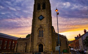 Picture the sky, clouds, sunset, machine, England, home, the evening, Church, lantern, Holy Trinity Church, Stalybridge