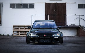 Picture Auto, Black, Machine, Mitsubishi, Evo, Rendering, The front, Lancer Evo, Transport & Vehicles, Clinched, Mitsubishi ...