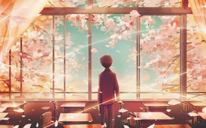 Picture spring, boy, window, class, cherry, student