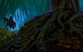 Picture forest, fog, horse, fantasy, Nazgul, by Anato Finnstark