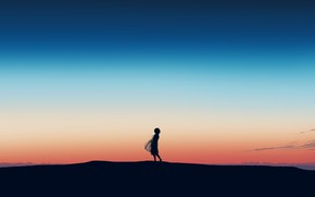 Picture girl, sunset, hill, postapokalipsis, by Gracile