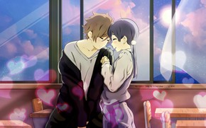 Picture girl, romance, anime, art, guy, Tamako Market