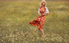 Picture field, girl, nature, dress, blonde, grass, solitaire, Shaklein Alex