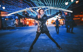 Picture look, night, lights, pose, smile, people, holiday, model, new year, portrait, makeup, shoes, figure, hairstyle, …