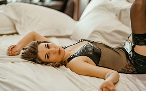 Picture girl, pose, bed, stockings, brown hair, curls, Николай Смолянкин