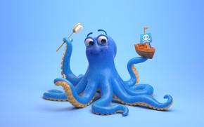 Picture art, octopus, boat, children's, Johnson & Johnson - Shampoo TV Advertisement, Fabio Sciedlarczyk