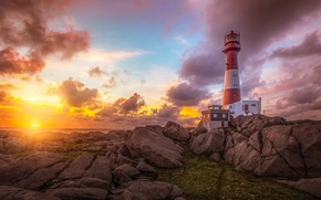 Wallpaper sea, the sky, the sun, clouds, rays, light, landscape, sunset, nature, stones, rocks, dawn, shore, ...