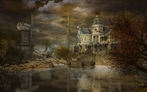 Picture the storm, autumn, the sky, clouds, trees, landscape, branches, clouds, nature, lake, house, reflection, stones, …