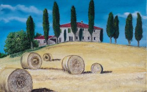Picture field, landscape, house, picture, Italy, Tuscany