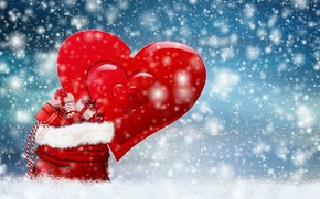 Picture snow, heart, Christmas, gifts, bag