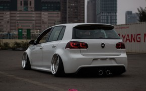 Picture volkswagen, white, tuning, bbs, low, stance, dropped, vag, .гольф .ваг ., vw . golf .