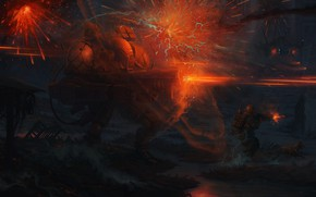 Picture Fire, War, Battle, Sparks, Weapons, Fantasy, Fire, Gun, Art, Style, Fiction, Weapon, Attack, Defender, Characters, …