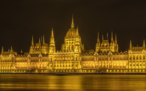 Picture lights, river, Parliament, Hungary, Budapest, The Danube