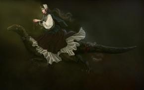 Picture girl, dinosaur, elf, nausnice