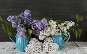 Picture flowers, heart, love, heart, wood, flowers, lilac, romantic, spring, lilac