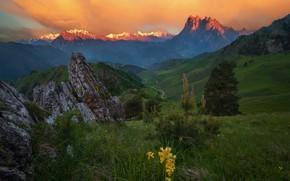 Picture grass, landscape, mountains, nature, stones, hills, a month, morning, meadows, Ingushetia, Alex Dragowski