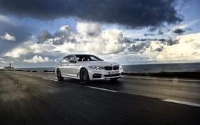 Picture white, asphalt, rain, overcast, BMW, sedan, 540i, 5, four-door, 2017, 5-series, G30