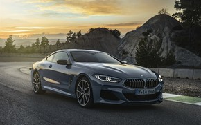 Picture sunset, hills, vegetation, coupe, BMW, Coupe, 2018, gray-blue, 8-Series, pale blue, M850i xDrive, Eight, G15