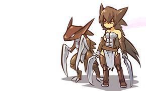 Picture girl, costume, girl, swords, stone, cosplay, pokemon, pokemon, water, blades, humanitaria, Kabutops, Kabutops