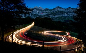 Picture road, mountains, lights